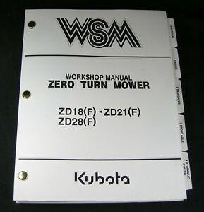 Kubota ZD18 F ZD21 F ZD28 F Zero Turn Mower Workshop Service Repair Manual Book