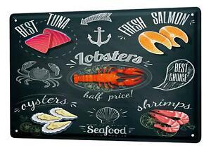 Tin Sign Retro Seafood