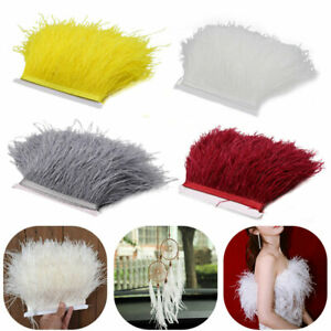 4 Colours 1M Quality Ostrich Feather Fringe Trim For Millinery Hats Craft Dress