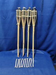 4 x Bamboo Tiki Torches  60CM Garden Outdoor Party Torch Light Plus  spare wicks