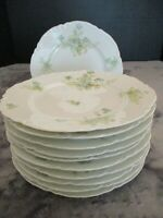Antique Haviland Limoges Green Turquoise Floral Scalloped Rim 11 Salad Plates