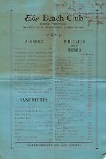 1930's Fallston Pennsylvania The Beach Club Restaurant Night Club Menu