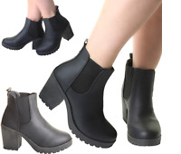 Woman's Chunky Grip Sole Block High Heel Chelsea Stretch Black Ankle Boots Shoes