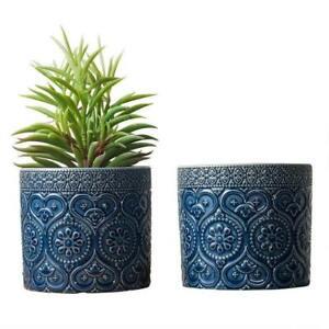 Cobalt Azure Blue Mediterranean Ceramic Floral Embossed Planter Pots, Set of 2