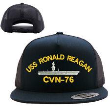 USS RONALD REAGAN CVN-76 MESH TRUCKER SNAP CLOSURE CAP HAT BLACK
