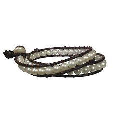Freshwater Pearl and Leather 15 inch Wrap Bracelet