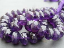 """LARGE HAND FACETED AMETHYST rondelle beads, 11mm - 16mm, 18"""", 580ctw (017)"""