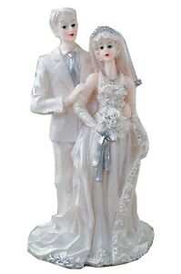 Vintage White Wedding Bride and Groom Cake Topper Silver & White w/ Veil