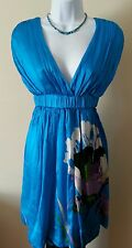 Bebe Turquoise Baby Doll Dress w/Floral Print SZ Small 100% Silk EUC MSRP $120