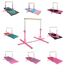 Pink Adjustable Horizontal Bar Gymnastics Training Sports Equipment W/Gym Mat