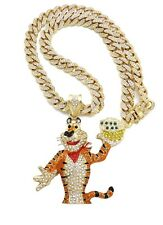 TONY THE TIGER PIECE WITH 12mm ICE BLING MIAMI CUBAN CHAIN