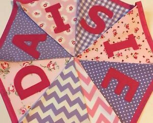 PERSONALISED FABRIC BUNTING Girl/boy New baby.  Pink & Lilac