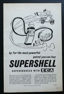 1956 Vintage Ad SUPERSHELL Petrol ICA Shell Company Old Retro Car Advertisement