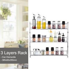 3 Tier Spice Jar Rack Storage Organizer Kitchen Cabinet Wall Mount Door Shelf