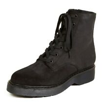 $395 Vince Monastir Lace Up Waxed Suede Leather Combat Ankle Boots Black 9 39.5