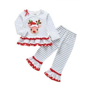 Christmas Outfit Toddler Girls Ruffle Top Reindeer Pants Set Size 4-5 years
