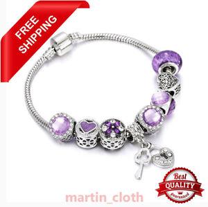 Authentic Bracelet Silver Purple Flowers European Charms