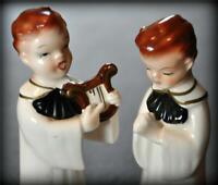 2 Vtg Christmas Alter Choir Boy Singing Praying Harp Japan Caroling Figurine Lot