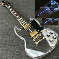 Custom LED Light Electric Guitar Maple Acrylic Body Crystal Guitar Sweet Tone SG