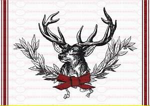 Bügelbild french Weihnachten Rot Hirsch  Shabby  A4  NO. 1679