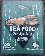 Fresh Seafood Large Green Metal Sign. Retro. Vintage Style. Seaside