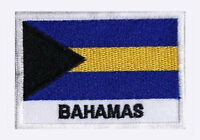 Patch écusson patche drapeau BAHAMAS 70 x 45 mm pays monde brodé à coudre