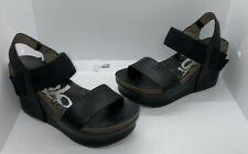 OTBT Bushnell Black Leather Platform Wedge Sandals Size 6M