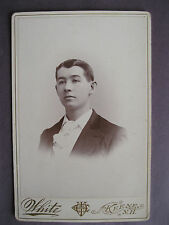 Antique Cabinet Card Victorian View Photo of Man by E. M. White from Keene, N.H.