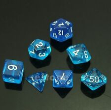 Blue 7-Dice Sided D4 D6 D8 D10 D12 D20 Magic-the-Gathering D&D RPG Poly Game Set