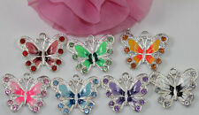 5Pcs Silver Plated Enamel Rhinestone Butterfly Charms Pendant Jewelry Findings