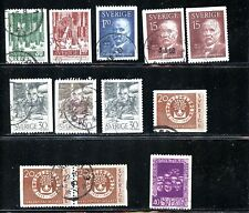 LOT 68287 USED 544/ 555  STAMPS SWEDEN FOREST TREES ANDERS ZORN SVANTE ARRHENIUS
