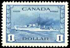 Canada #262 mint VF OG DG 1942 War Issue $1 deep blue Destroyer CV$80.00