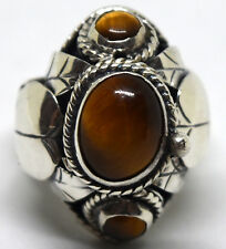 Vintage Enrique Ledisma Sterling Silver and Tiger Eye Poison/Pill Ring Size 6-7