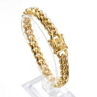 "8.5""Fashion 18K Gold Women Men's Miami Curb Cuban Chain Bracelet Stainless Steel"