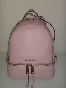 MICHAEL KORS Womens Rhea Zip MK MD Backpack Pale Lilac Leather Silver 30S5SEZB1L