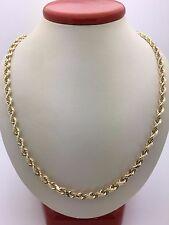 """Ouro Amarelo 14k Diamante Corte Sólido Corda Colar de Corrente Twist 20"""" 26.1g 4.2mm"""