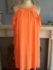 H&M CONSCIOUS COLLECTION DRESS NEON ORANGE FITS UK 8 AND 10
