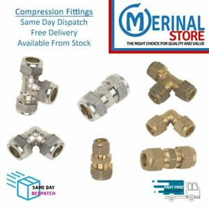 Compression Pipe Fittings Brass Connectors Plumbing 8mm-10mm-15mm-22mm-28mm