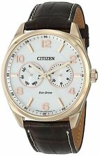 Citizen AO9023-01A Men's Eco Drive Corso Gold Tone Leather Band Day Date Watch