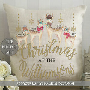 Personalised Cushion Deer Family Names Surname Mr&Mrs Christmas At The Xmas Gift