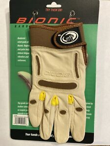 Bionic Women's Premium Gardening Gloves Cabretta Tan Leather Pair Small S