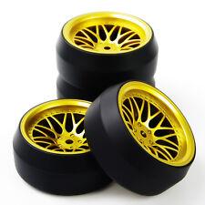 4 Pcs RC Flat Drift Tire Wheel Rim 12mm Hex  Fit HPI 1:10 On-Road Car BBG+PP0369