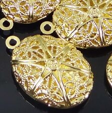 5 Gold Plated Filigree Hollow Locket Oval Pendants 24x16mm