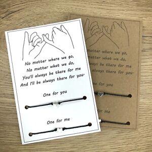 Best Friend Love Heart Friendship Promise Charm Card Wish Bracelet set twin Gift