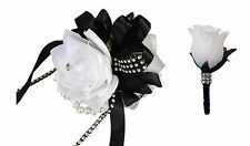 2pc Set - Wrist Corsage and Boutonniere: White with Black Ribbon (BCset-07)