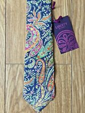 Liberty Art Fabrics Cotton Bright Fun Paisley Quirky Skinny Tie Wedding Races