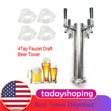 Beer Tower Dispenser 4 Tap Faucet Draft Homebrew Bar Stainless Steel Usa