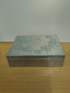 Pewter and wood felt lined box