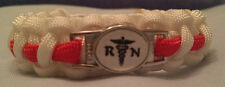 Registered Nurse Caduceus & RN emblem handmade Red & White paracord bracelet