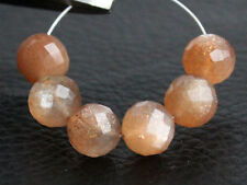 6.5mm Natural Peach Moonstone Faceted Round Ball Gemstone Beads